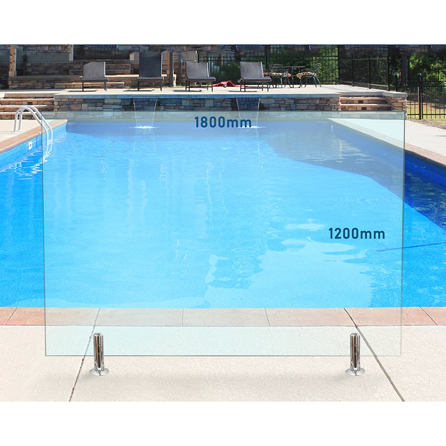 1800mm x 1200mm Glass Pool Fencing Panel