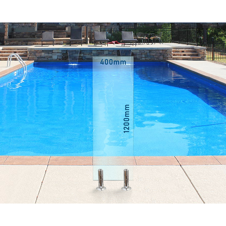400mm x 1200mm Glass Pool Fencing Panel