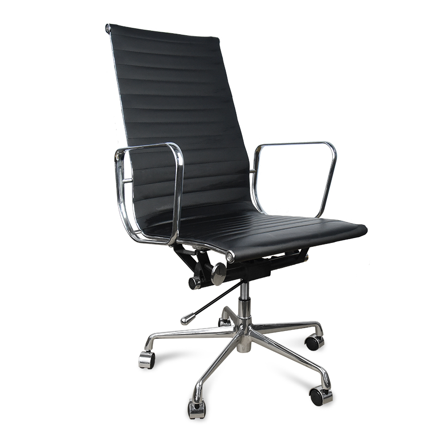 Eames Replica HIGH BACK PU Leather Office Chair - Black
