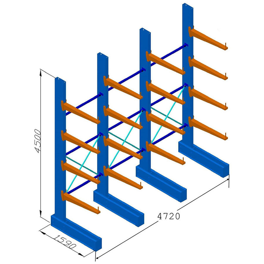 Heavy Duty Cantilever Racking - SS 4.5mH - 900mm Arms