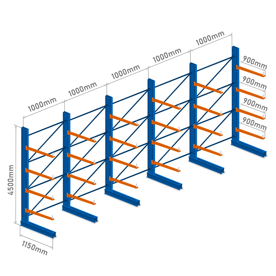 CANTILEVER RACKING - 5 Bays - Single Sided - 4.5m 7,920kg capacity