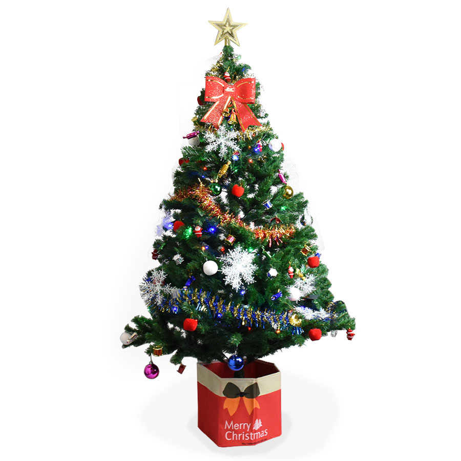 18m christmas tree 800 tips fully decorated with lights - Fully Decorated Christmas Tree