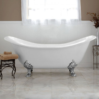 Cast Iron Claw Foot Bath - 1829mm Double Slipper - WHITE