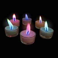 COLOURED FLAME Tea Light Candles - 6 Pack -