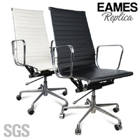 Eames Replica HIGH BACK PU Leather Office Chair - Black OR White