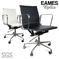 Eames Replica LOW BACK PU Leather Office Chair - Black OR White
