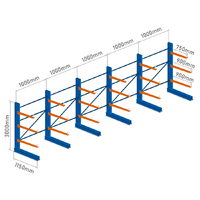 CANTILEVER RACKING - 5 Bays - Single Sided - 3.0m 6,870kg capacity