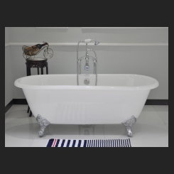 CAST IRON BATH 1524mm -WHITE - Double Ended (with overflow hole)